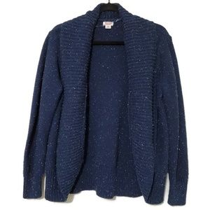 Mossimo knitted open cardigan sweater blue speckle